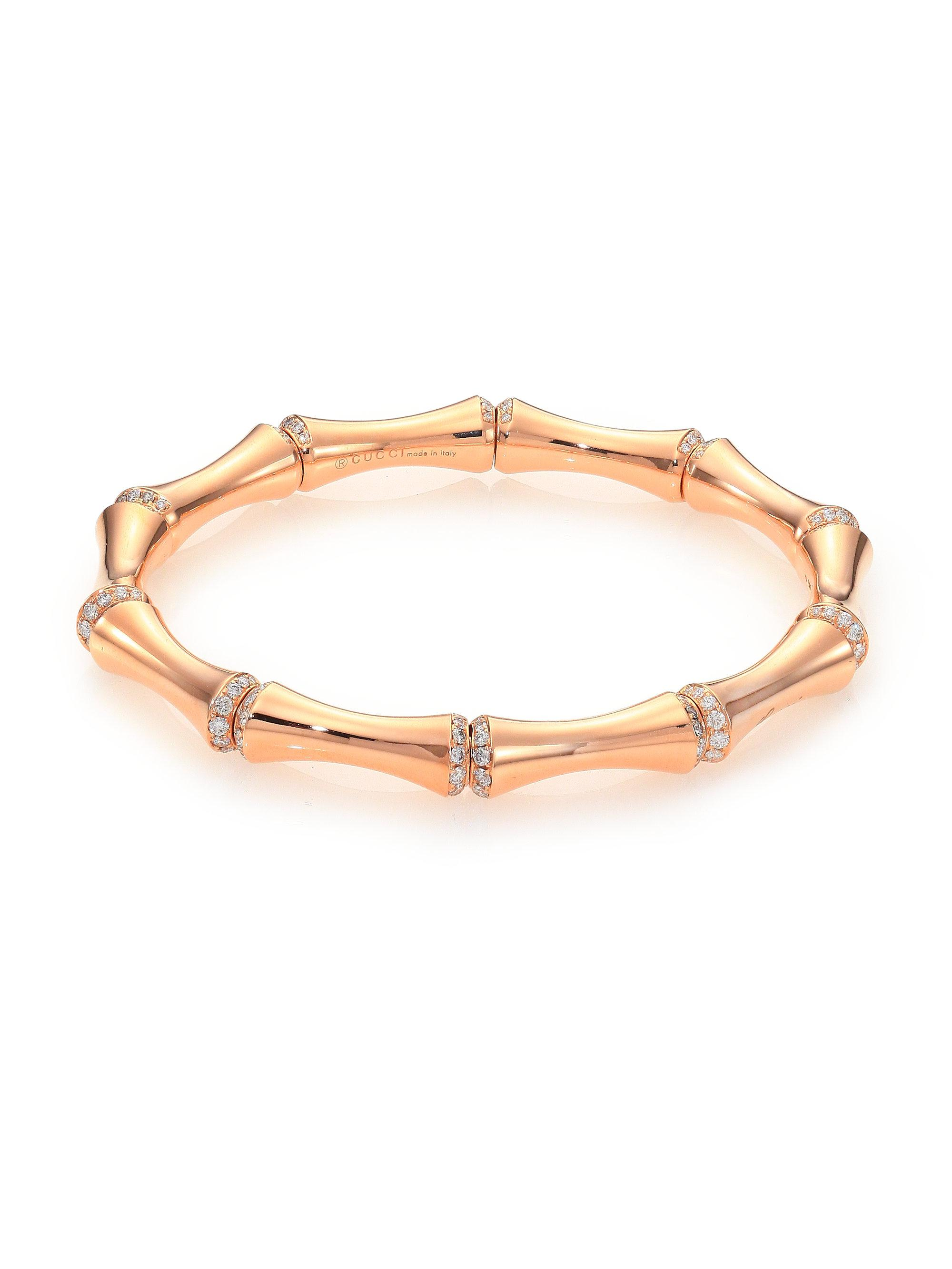 goldtone diamond pink crystal gallery jewelry bracelet product bangle bangles michael gold kors lyst tone normal rose baguette