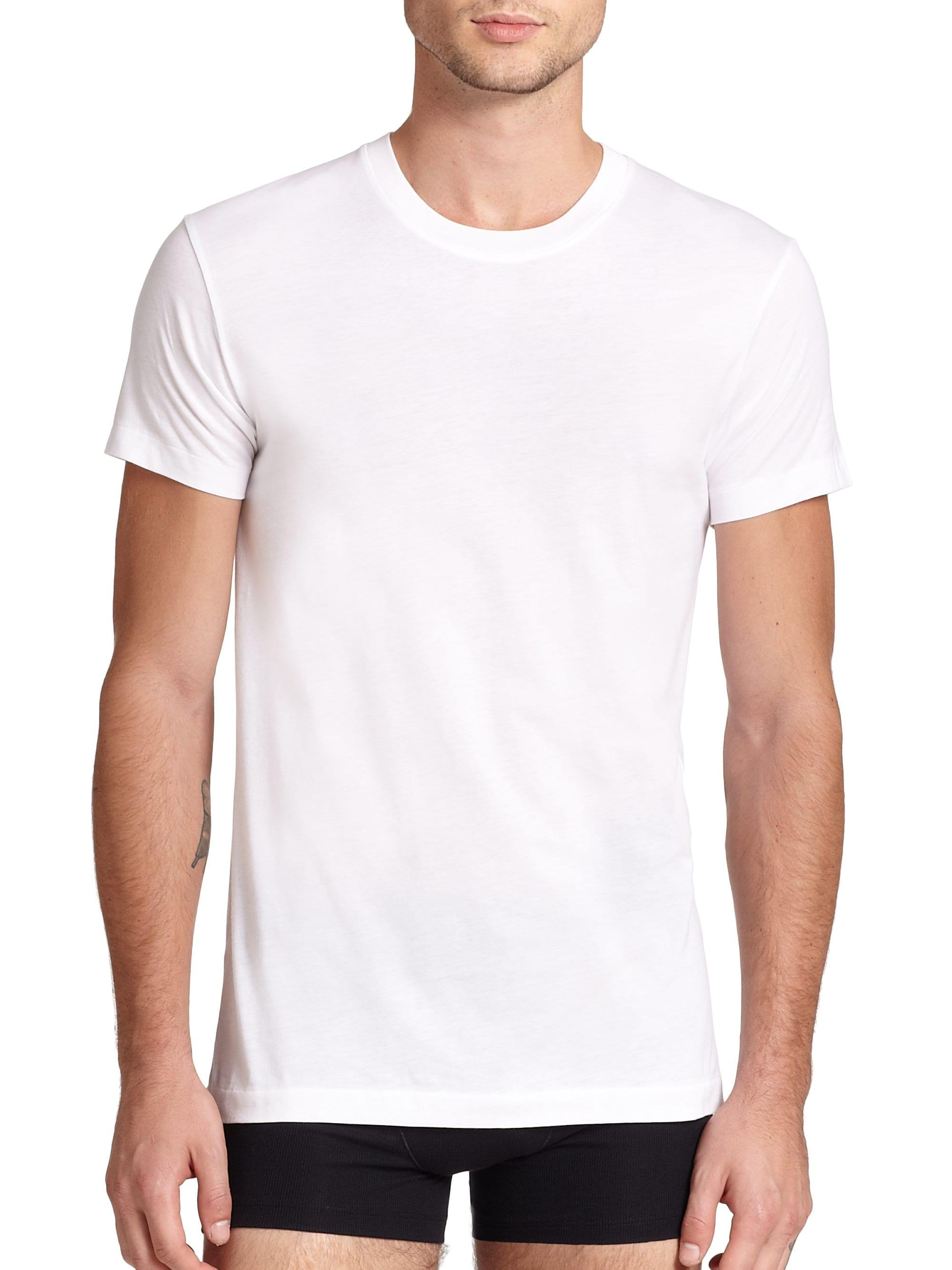 Lyst 2xist Pima Cotton Crewneck Tee In White For Men