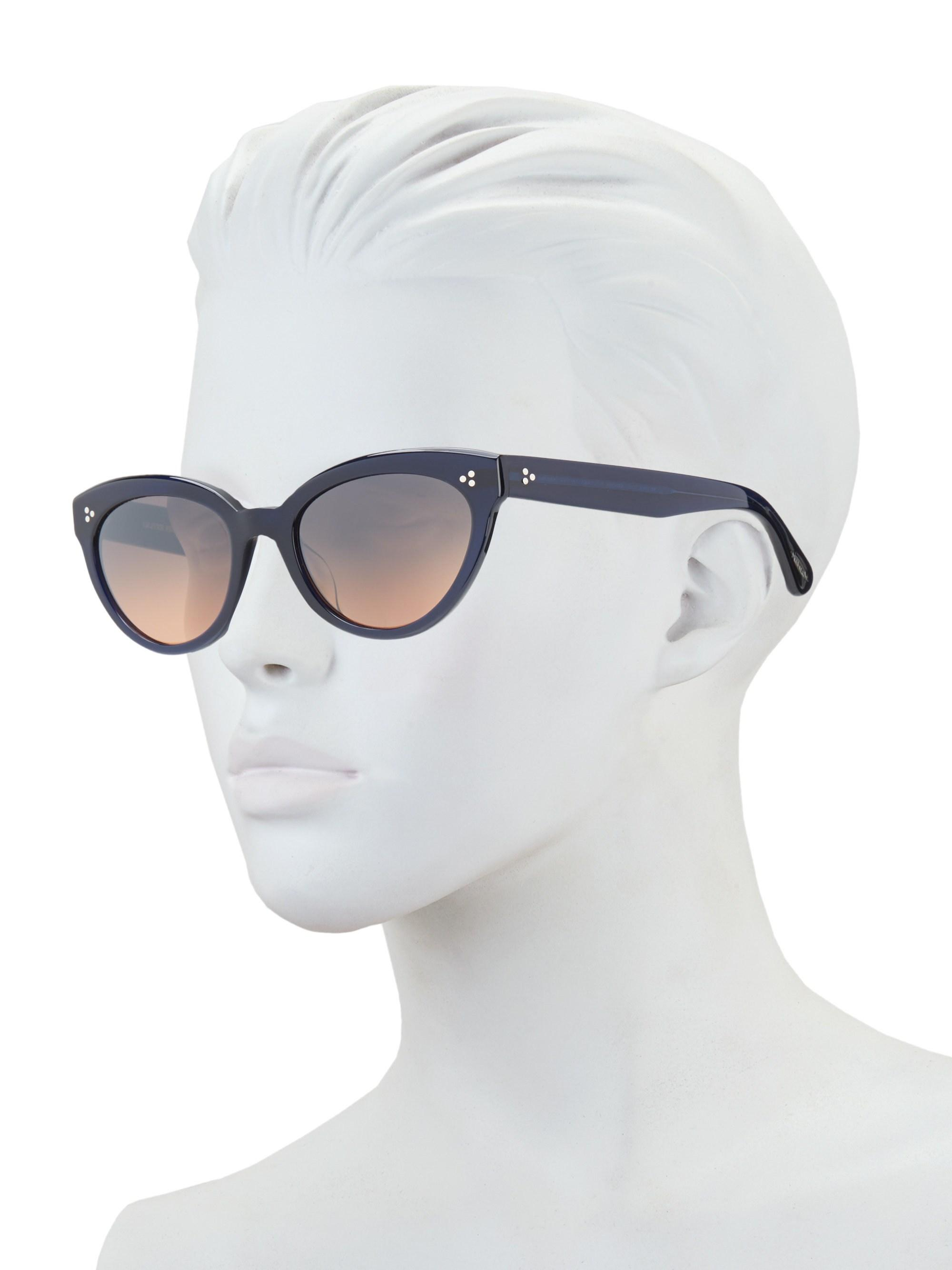 10873194920 Oliver Peoples - Women s Roella 55mm Mirrored Cat Eye Sunglasses - Blue -  Lyst. View fullscreen
