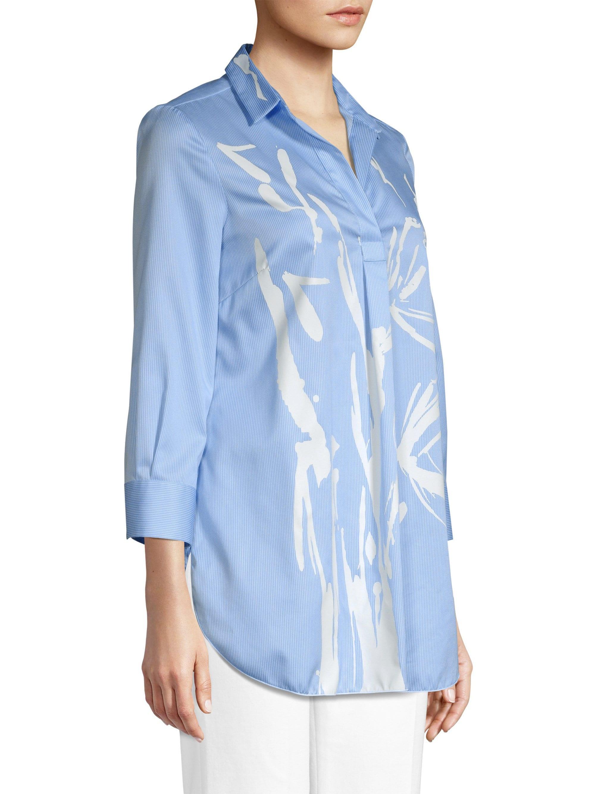 61765e52069 Piazza Sempione Eugenia Brush Stroke Striped Tunic in Blue - Lyst