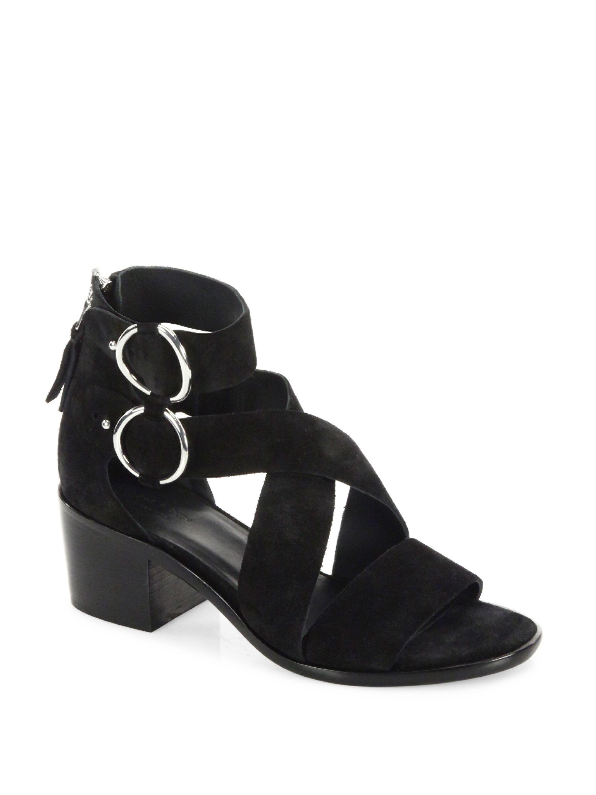 d10f93dad4690 Lyst - Rag   Bone Mari Suede Mid-heel Sandals in Black