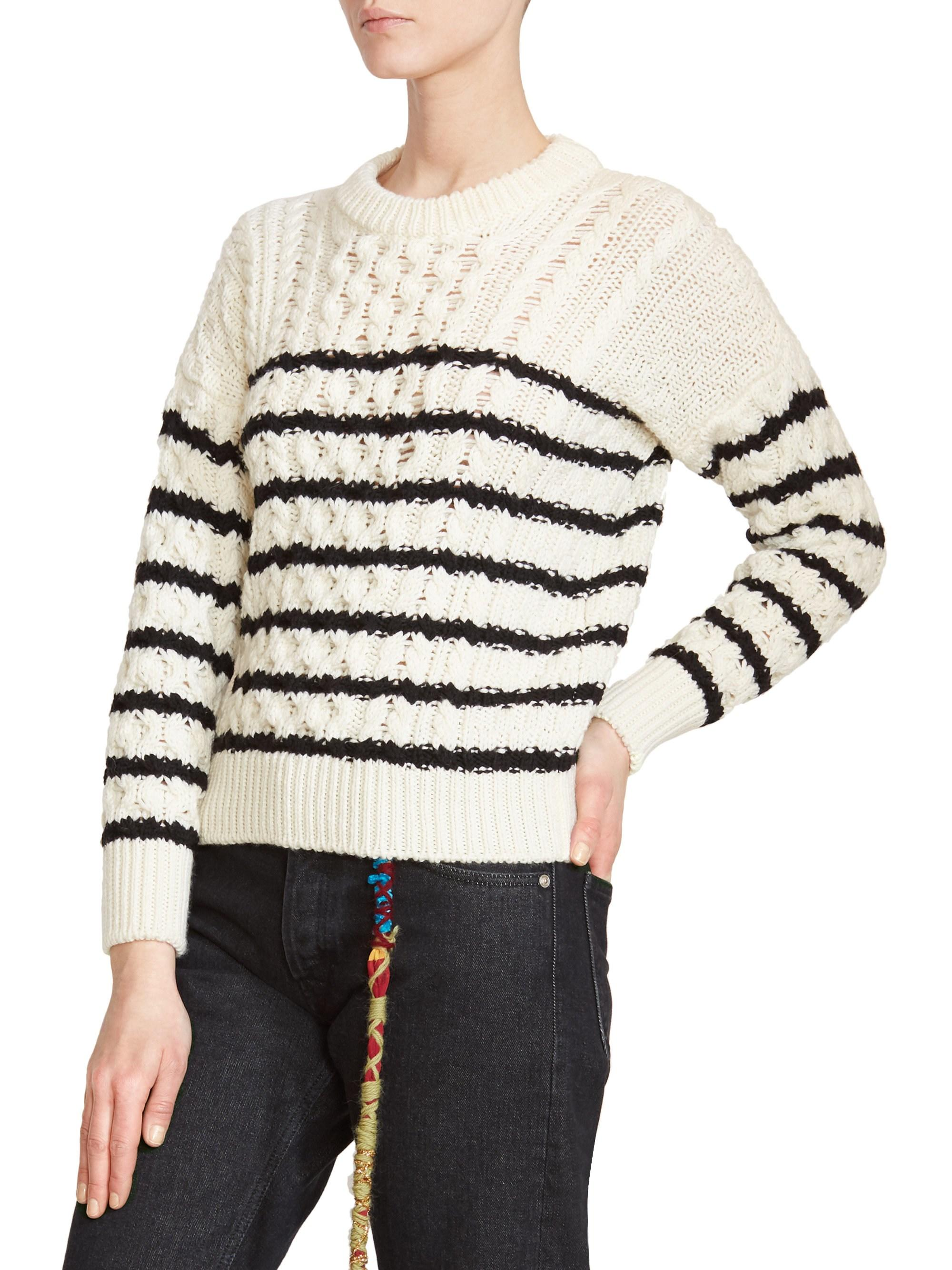 5b7c955cf0 Loewe Stripe Wool Cable Knit Sweater in White - Lyst