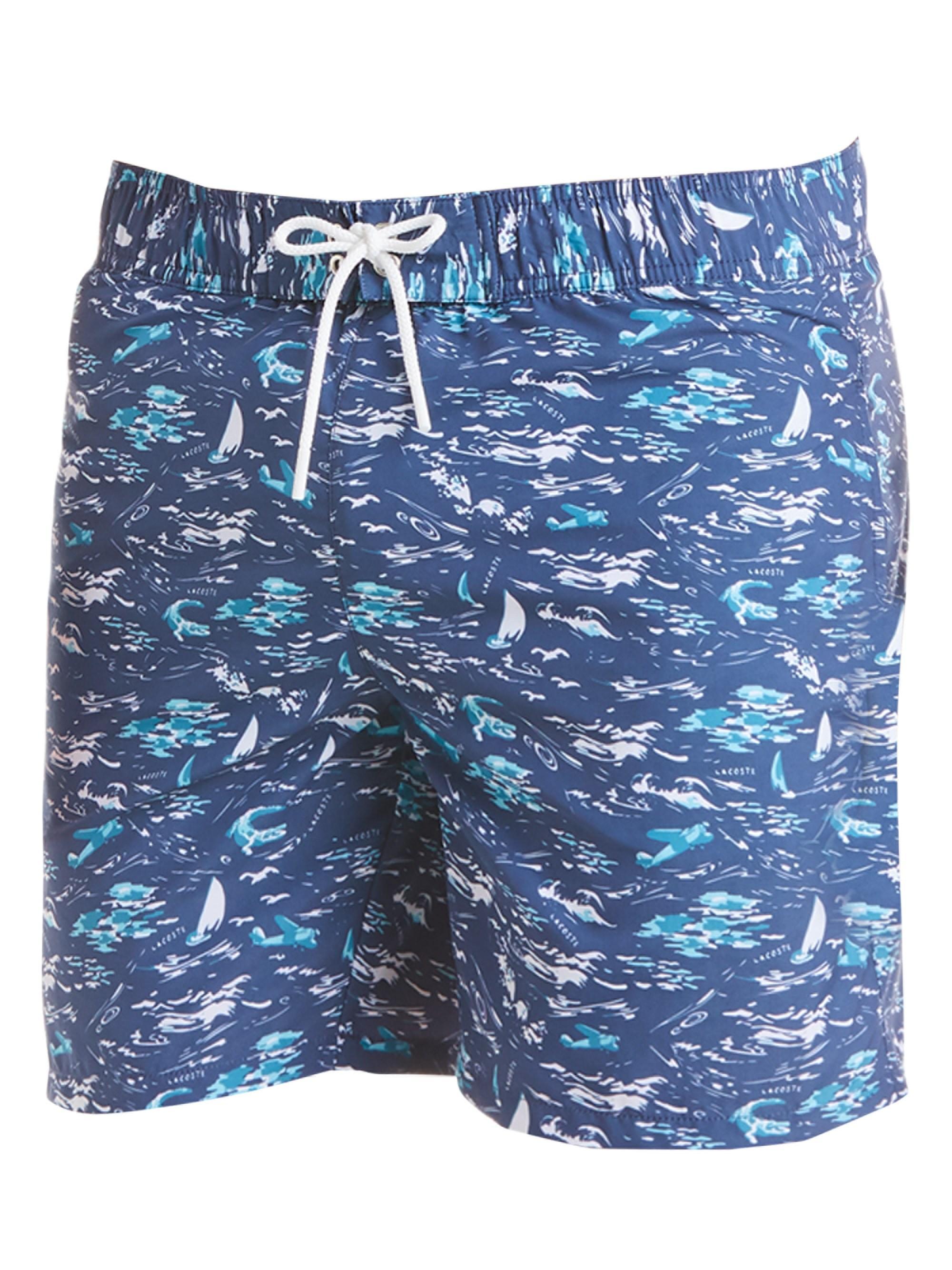 91546313ee2 Lyst - Lacoste Men's Printed Swim Trunks - Navy - Size Xl in Blue ...