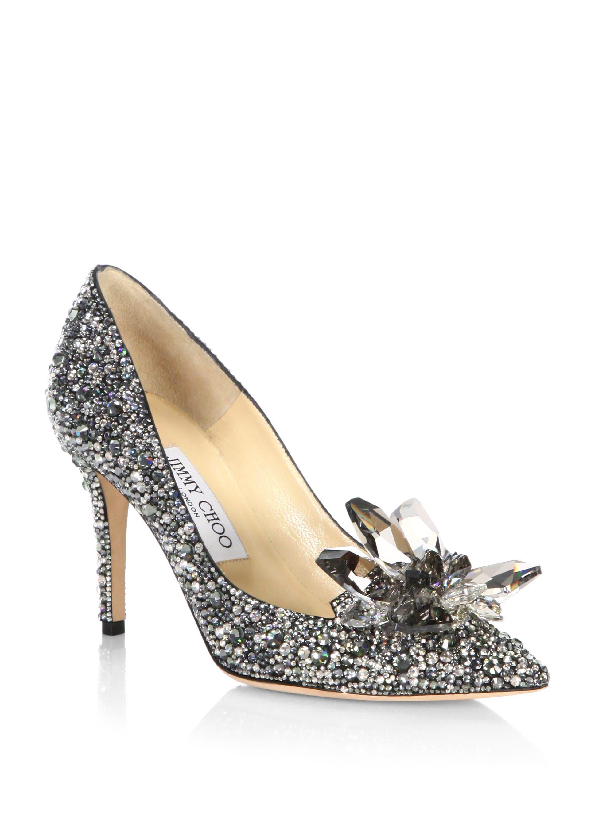 jimmy choo crystal suede point toe pumps in black lyst rh lyst com au