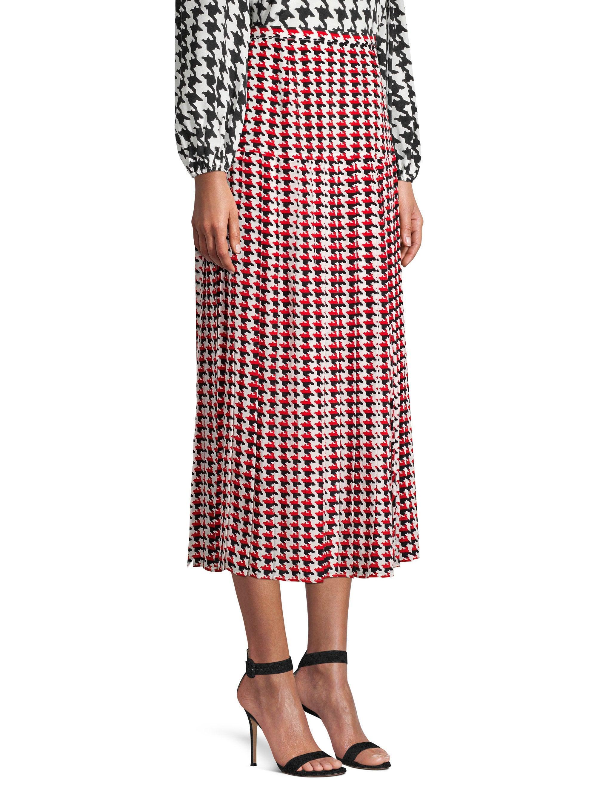 1fa4db8419 Lyst - RIXO London Tina Houndstooth Silk Midi Skirt in Red