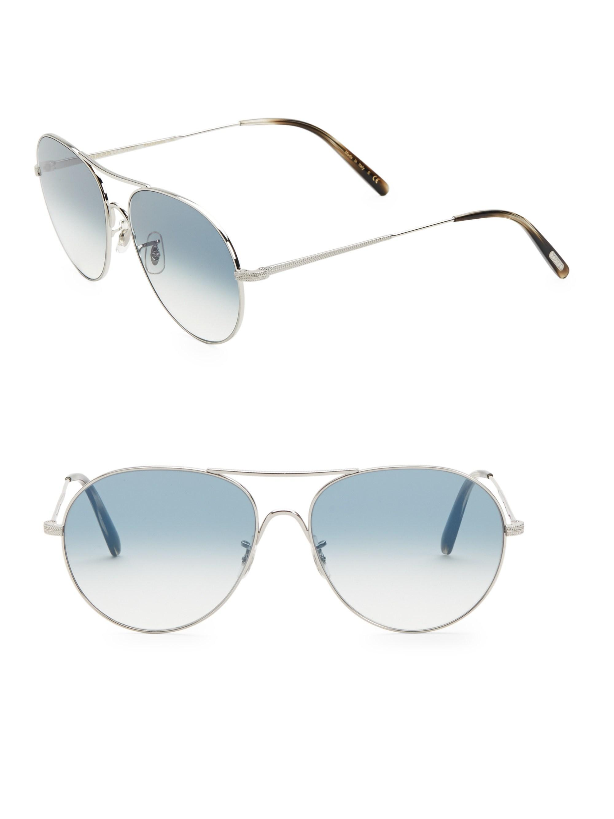 e7479051015a Lyst - Oliver Peoples Rockmore 58mm Aviator Sunglasses in Metallic ...