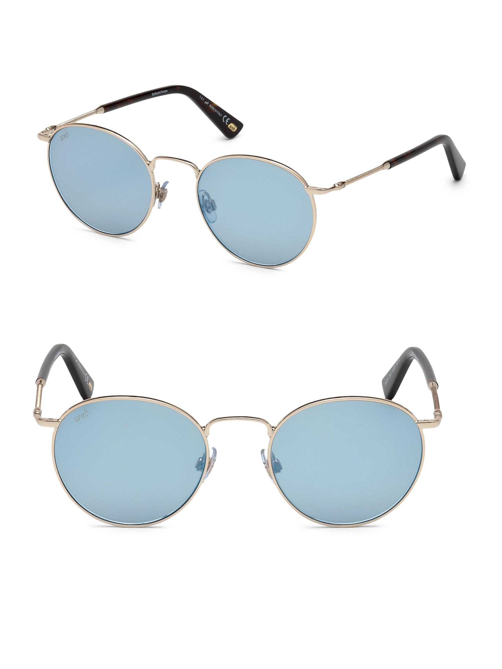 21201419e3 Web 51mm Rose Gold   Blue Mirror Round Sunglasses in Blue - Lyst