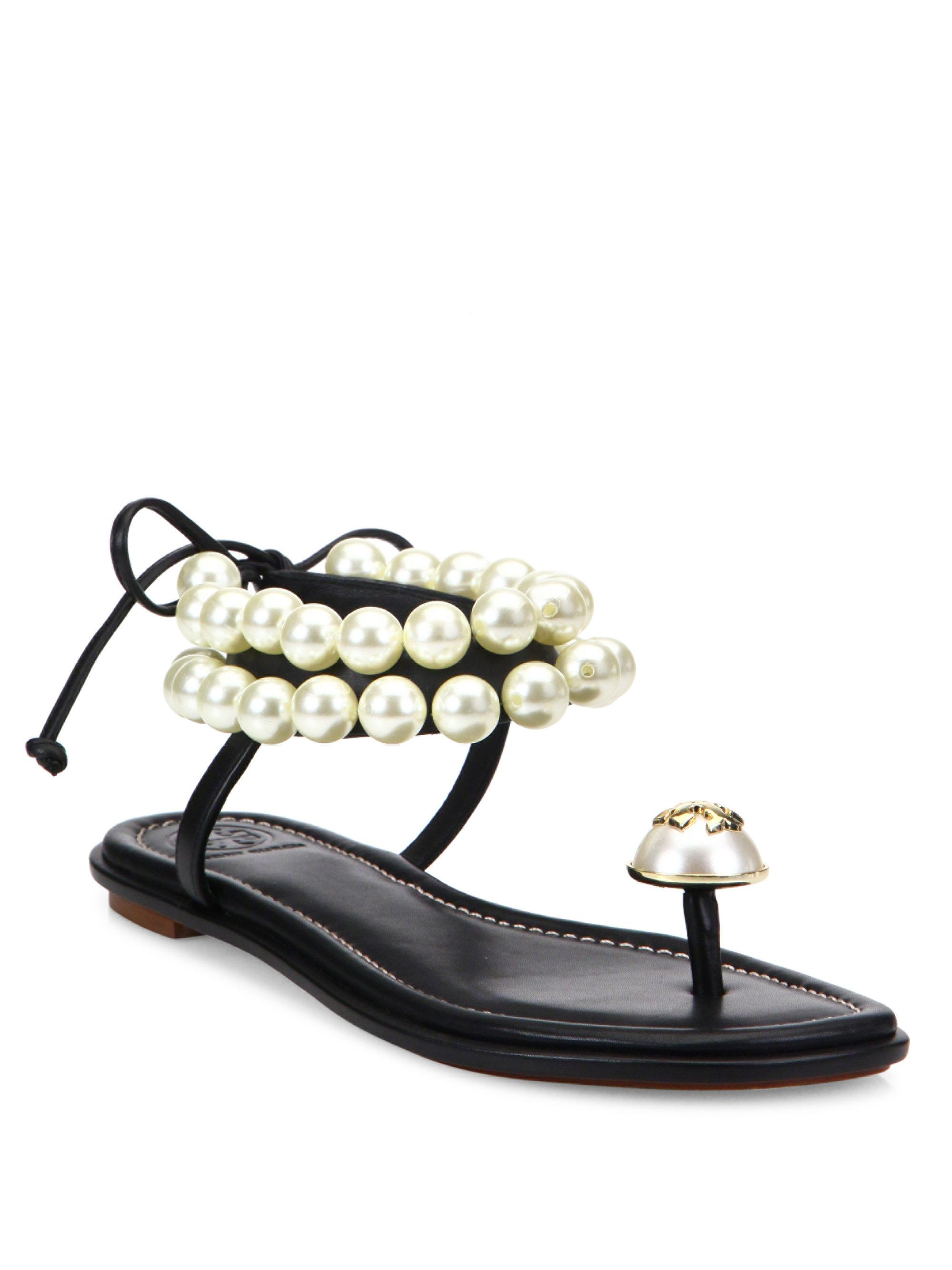 e30c080d0f68 Tory Burch Melody Pearly Ankle-wrap Flat Sandal in Black - Lyst