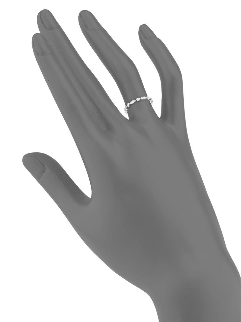 ed1fabb6a1bd7 Lyst - Danni 14k White Gold Milgrain Diamond Ring in Metallic