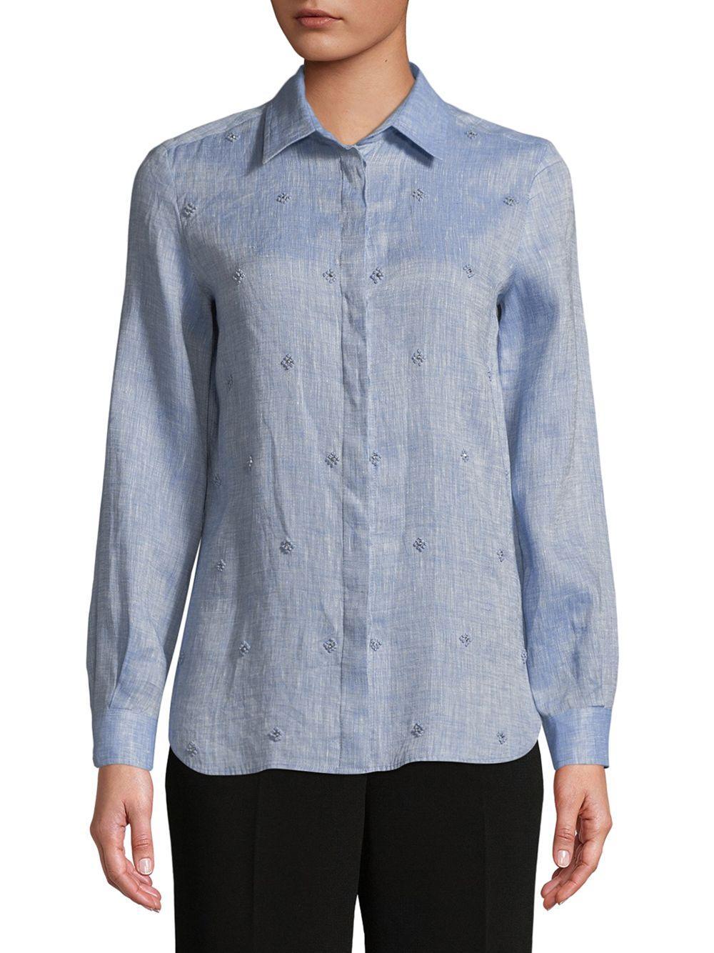 8966b9e72fbe Lyst - Max Mara Vallet Embellished Linen Shirt in Blue