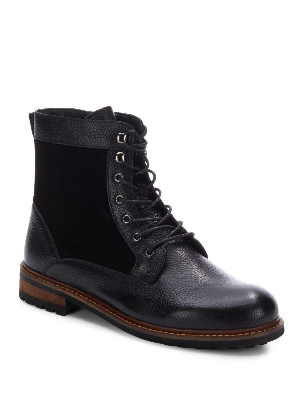 saks fifth avenue kramer leather suede boots in black