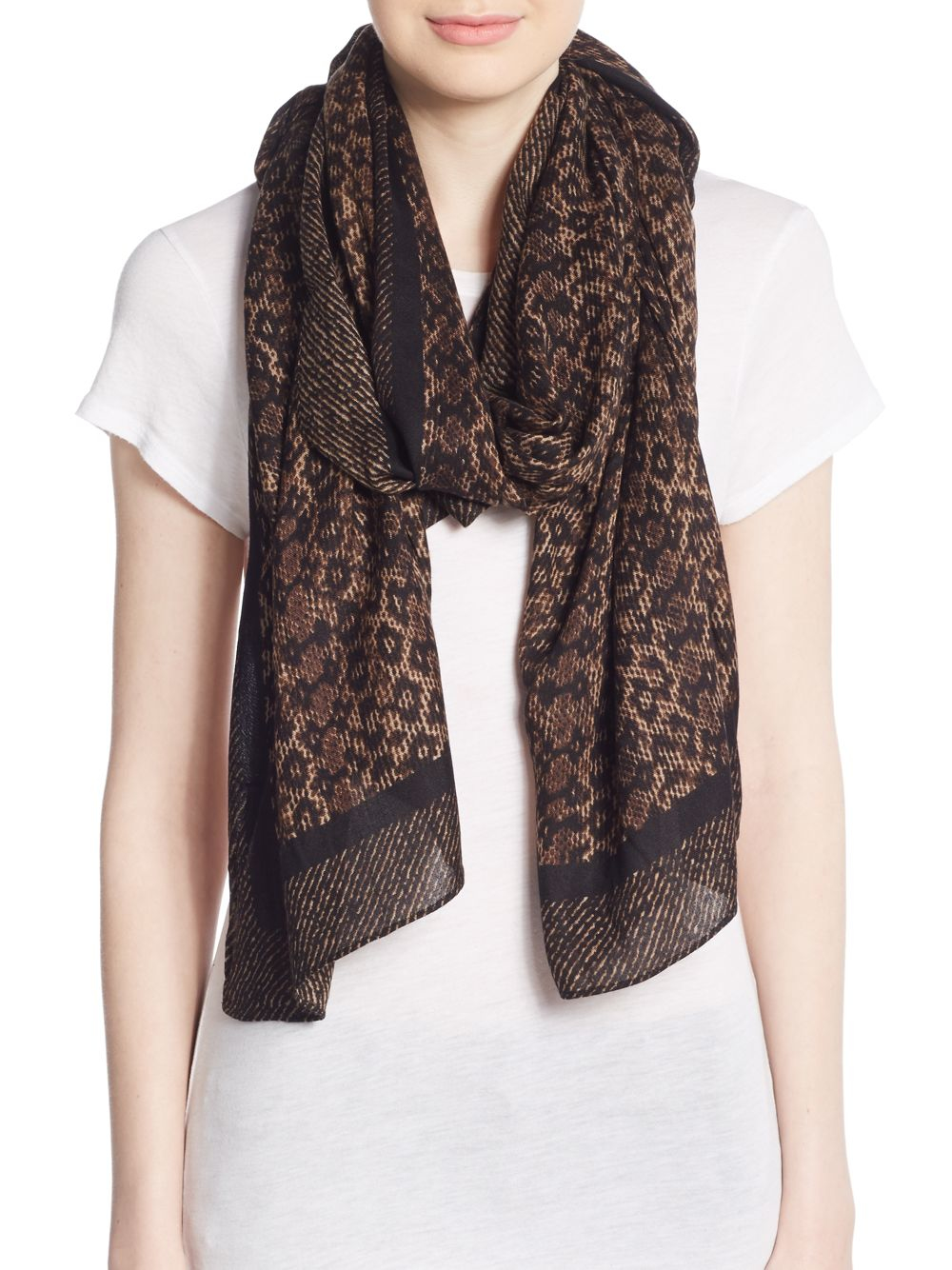 michael michael kors animal print scarf in brown lyst