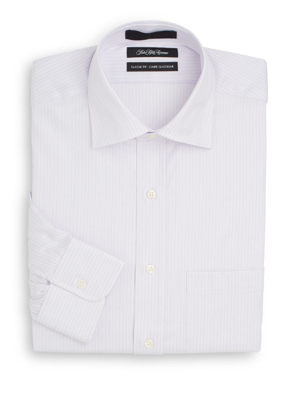 Saks Fifth Avenue Classic Fit Striped Cotton Dress Shirt