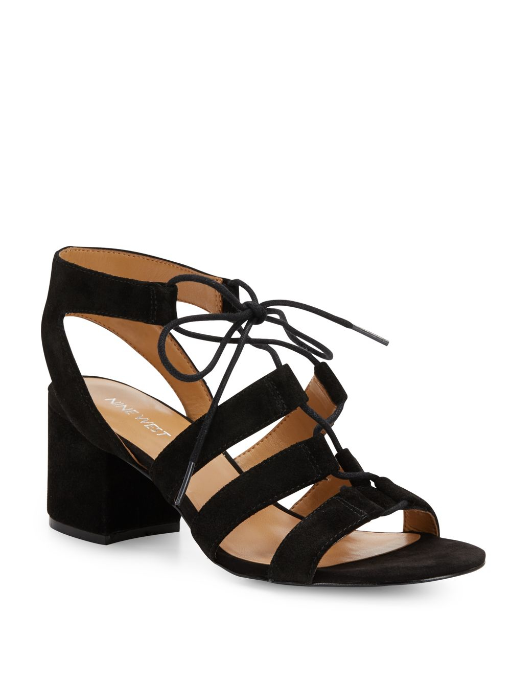 Nine West Gazania Lace Up Sandals In Black Lyst
