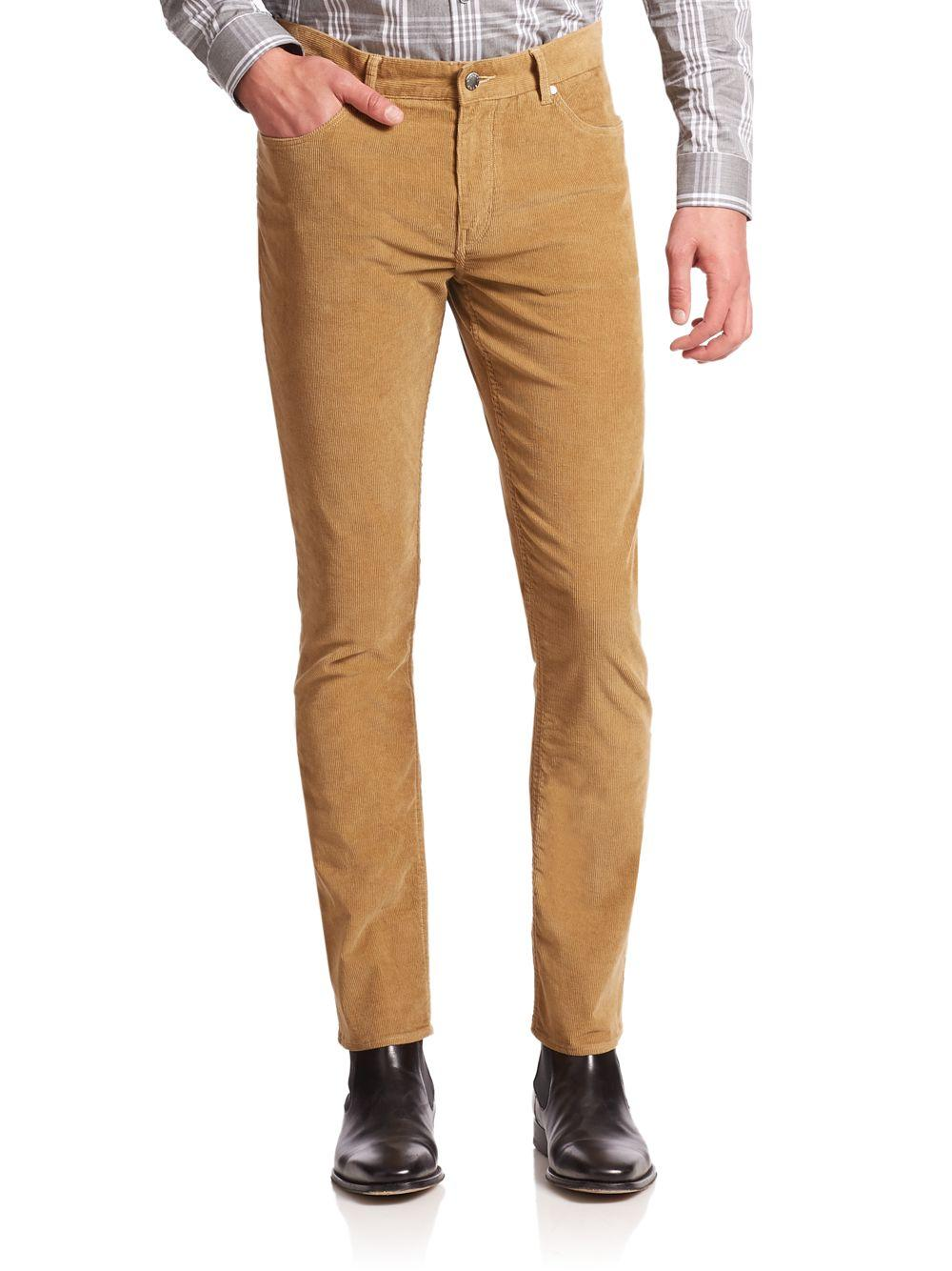 Thanks to their trim shape and hint of stretch, these fine-wale corduroy pants are a smart yet comfortable foundation to almost any look. Stretch Slim Fit: sits low at the waist. Slim through the leg.