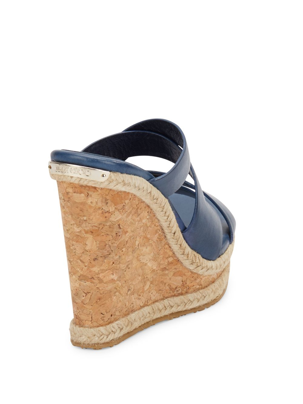 jimmy choo prisma leather cork wedge sandals in blue lyst