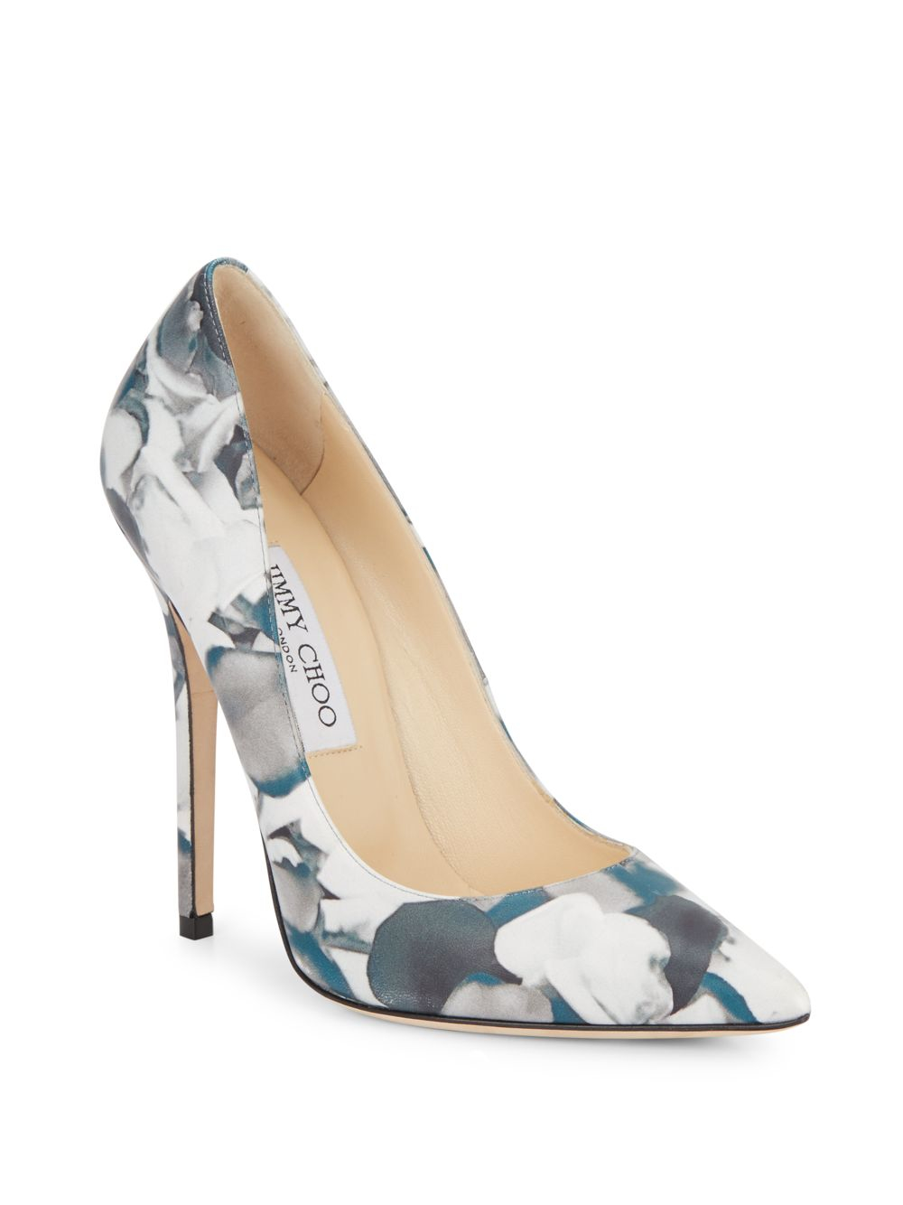 66ca8b85a1e4 Lyst - Jimmy Choo Anouk Floral-print Leather Pumps in Blue