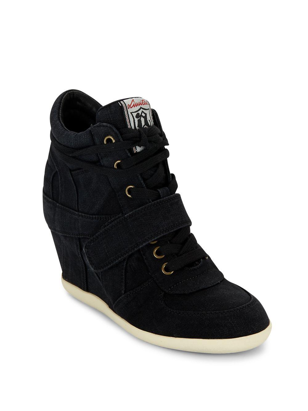 Lyst Ash Bowie Denim Wedge Sneakers In Black