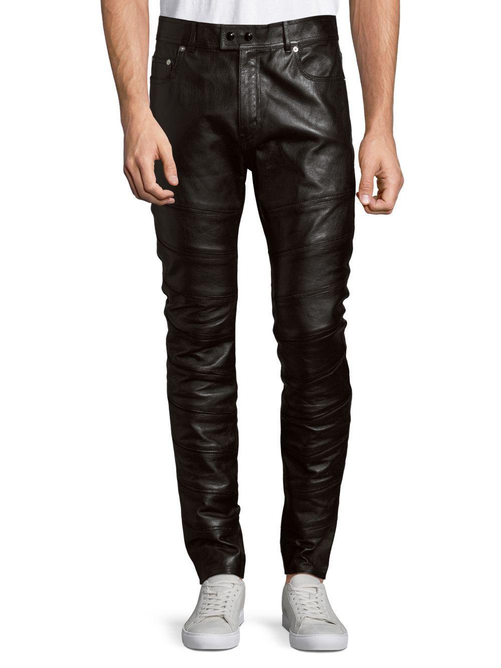 mens lambskin leather pants slim fit 5 pocket jean style black 32 34 36 38 40