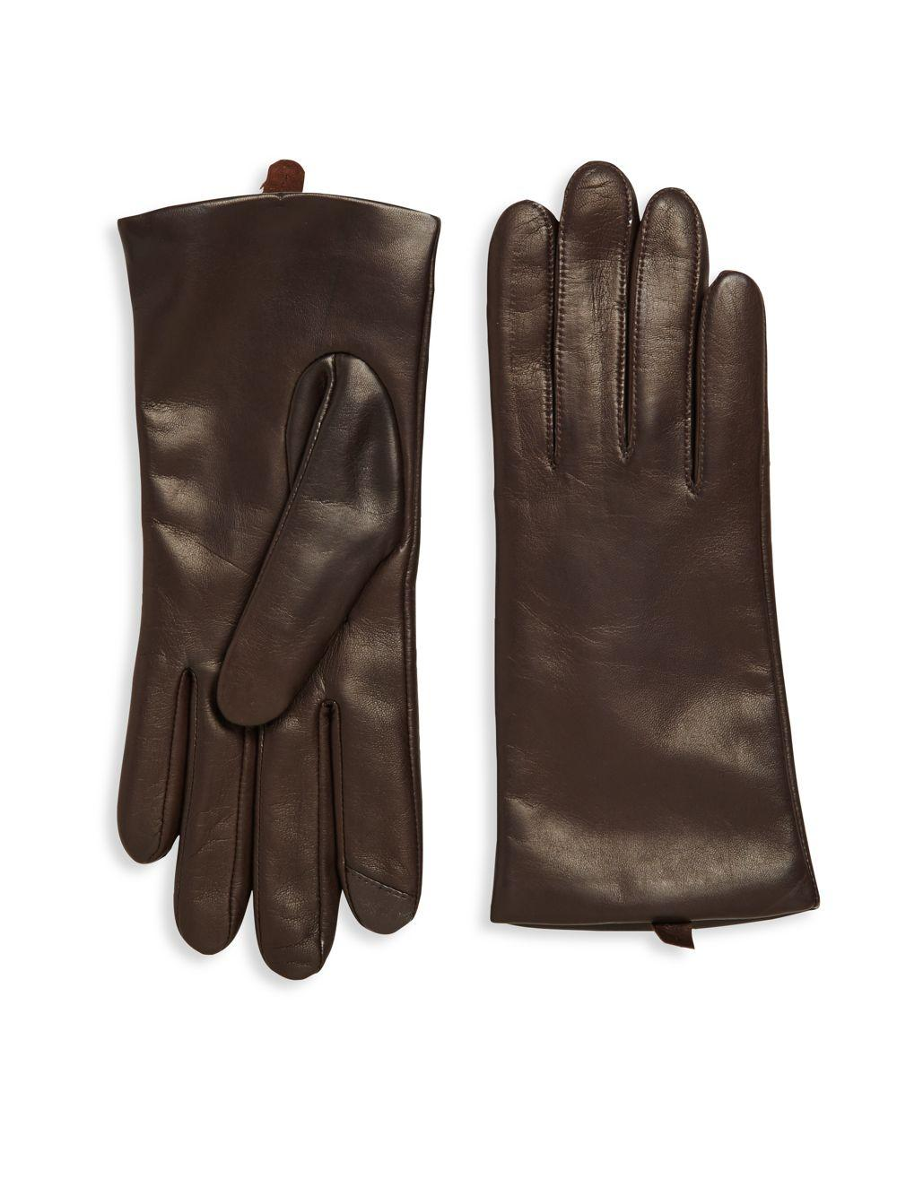 Saks fifth avenue Leather Gloves in Brown