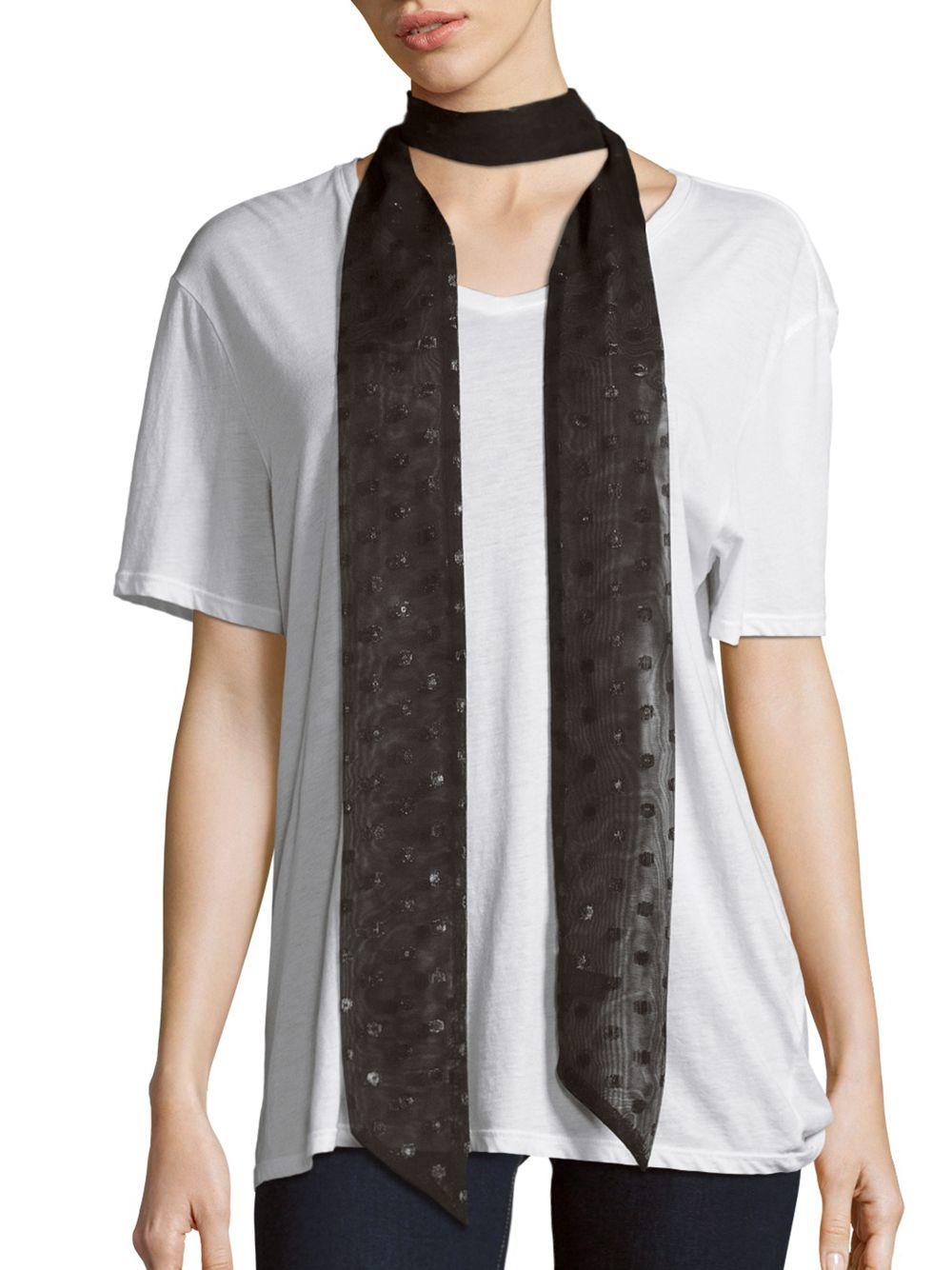 saks fifth avenue geometric glitter scarf in black lyst