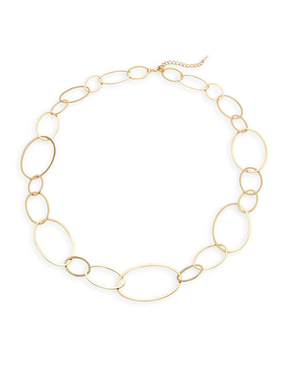 Saks fifth avenue Goldtone Large Hoop Link Necklace in Metallic   Lyst