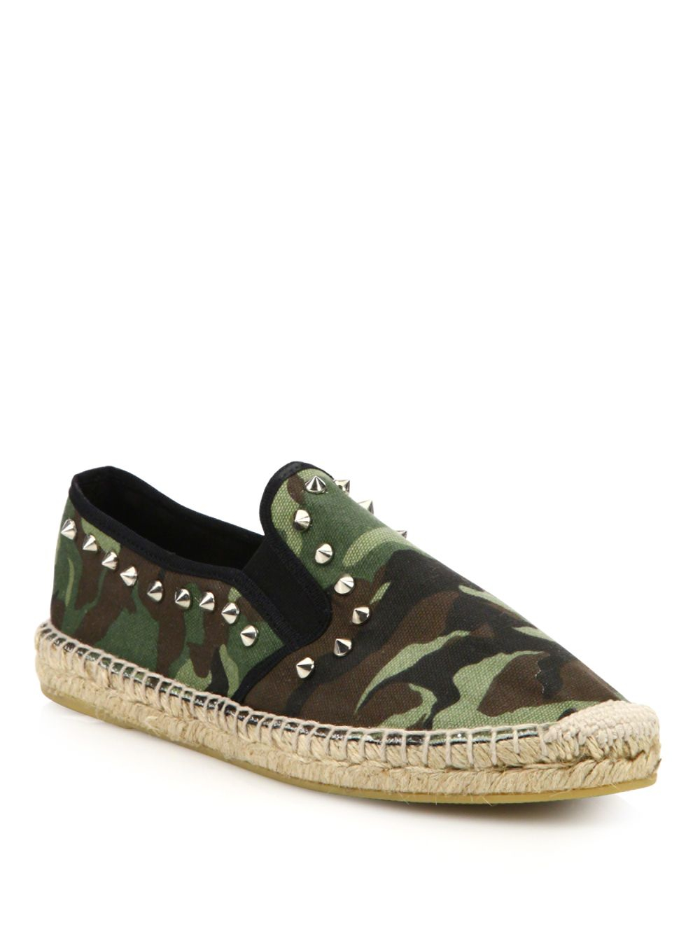 ash zest bis studded camo espadrille flats in multicolor lyst