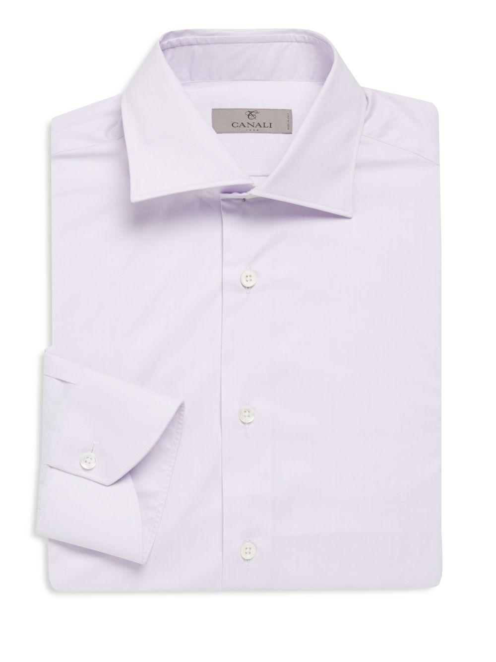 Armani modern fit solid cotton dress shirt in purple for for Modern fit dress shirt