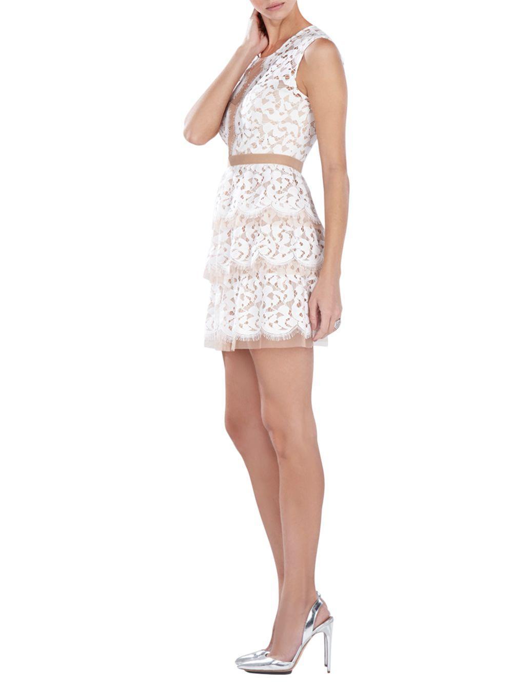 bcbgmaxazria tiered lace dress in white lyst