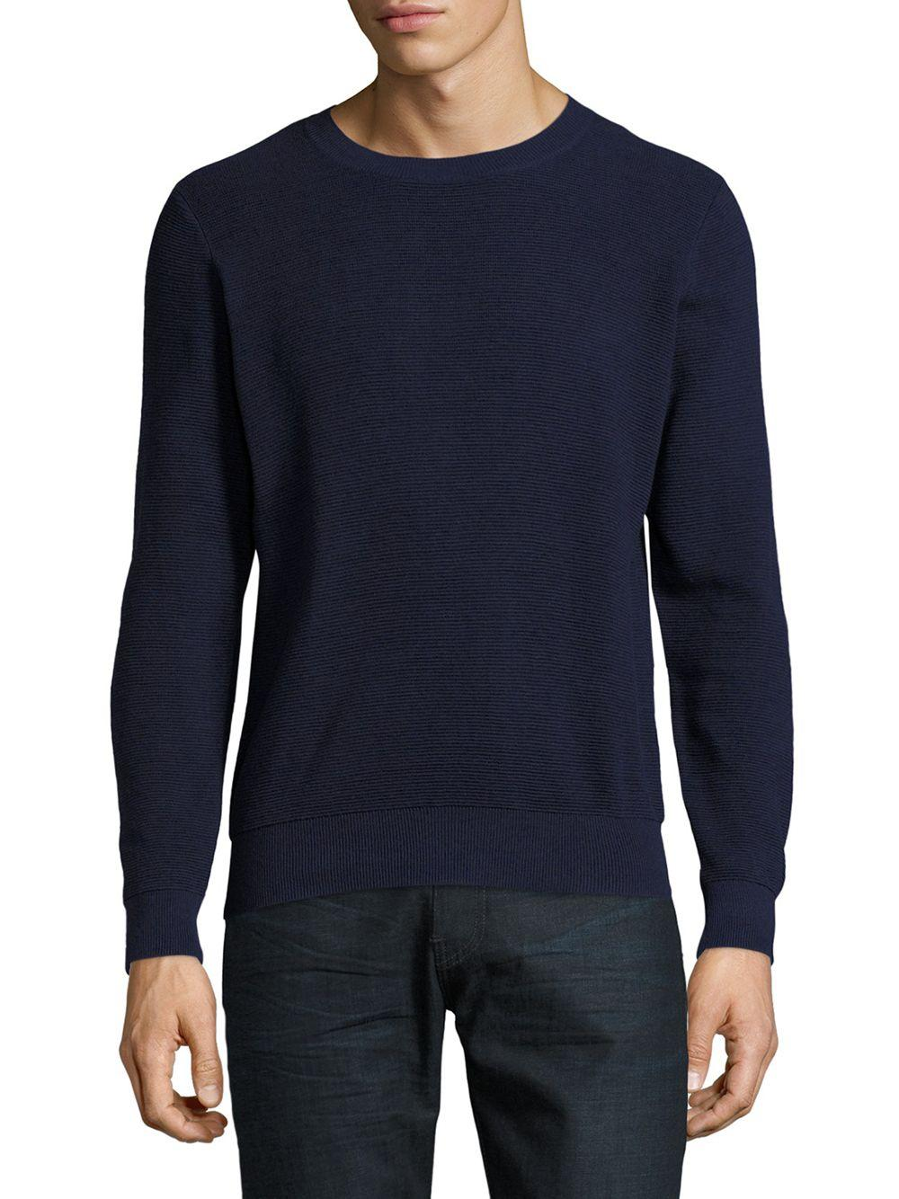 Sandro Ribbed Roundneck Tee In Blue For Men Lyst