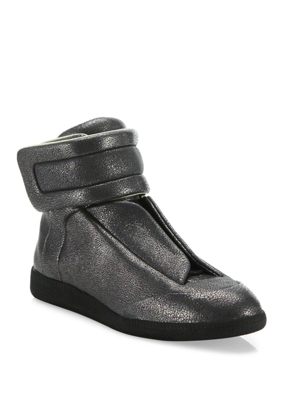 f9f91b887d1 Maison Margiela Stingray Future Leather High-top Sneakers in Gray ...