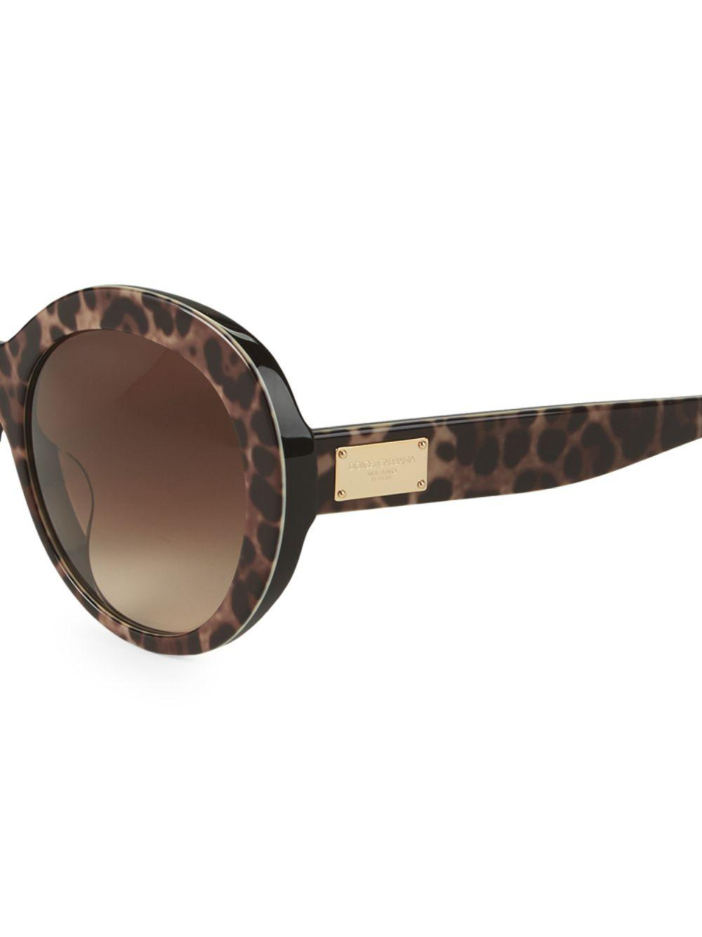 45bacfe37fc2 Lyst - Dolce & Gabbana 57mm Leopard Print Round Sunglasses in Brown