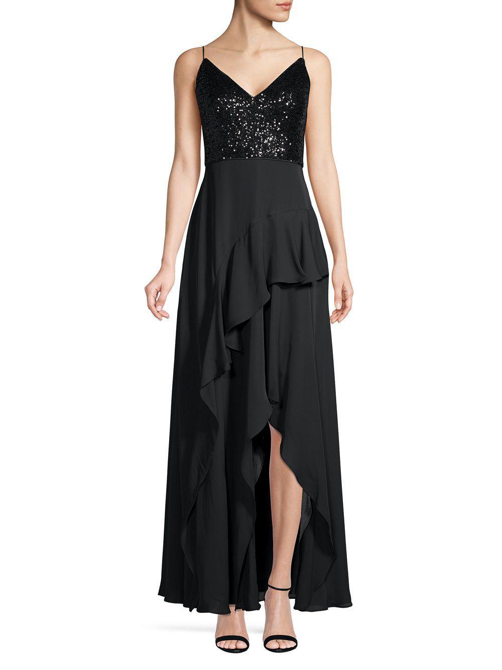 cc138e2f3f9d Calvin Klein Sequin & Chiffon Ruffle Slit Gown in Black - Save 36 ...