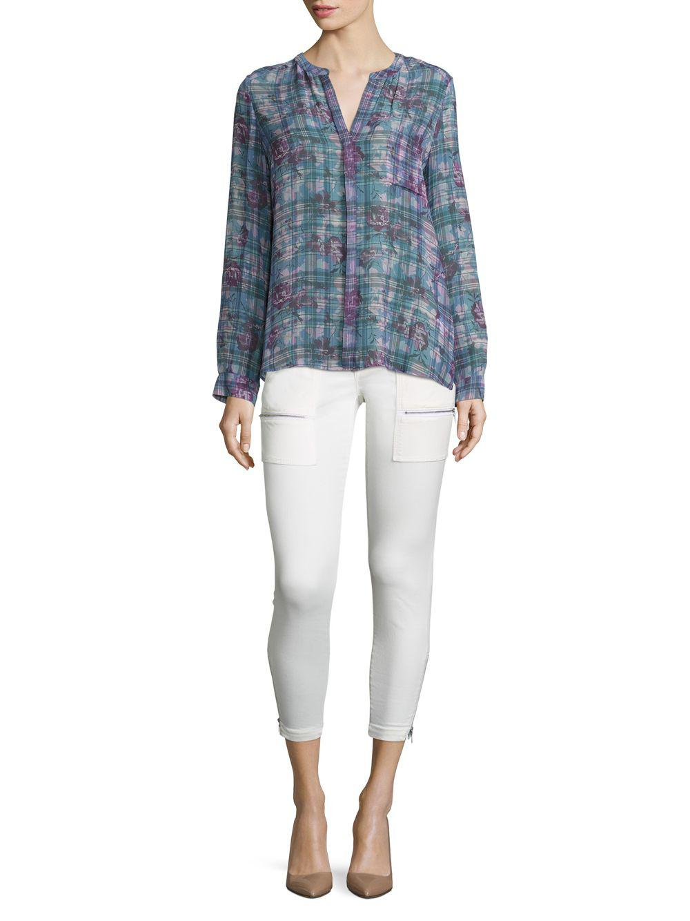 01622438 Lyst - Joie Brigid C Floral & Plaid Silk Blouse in Blue