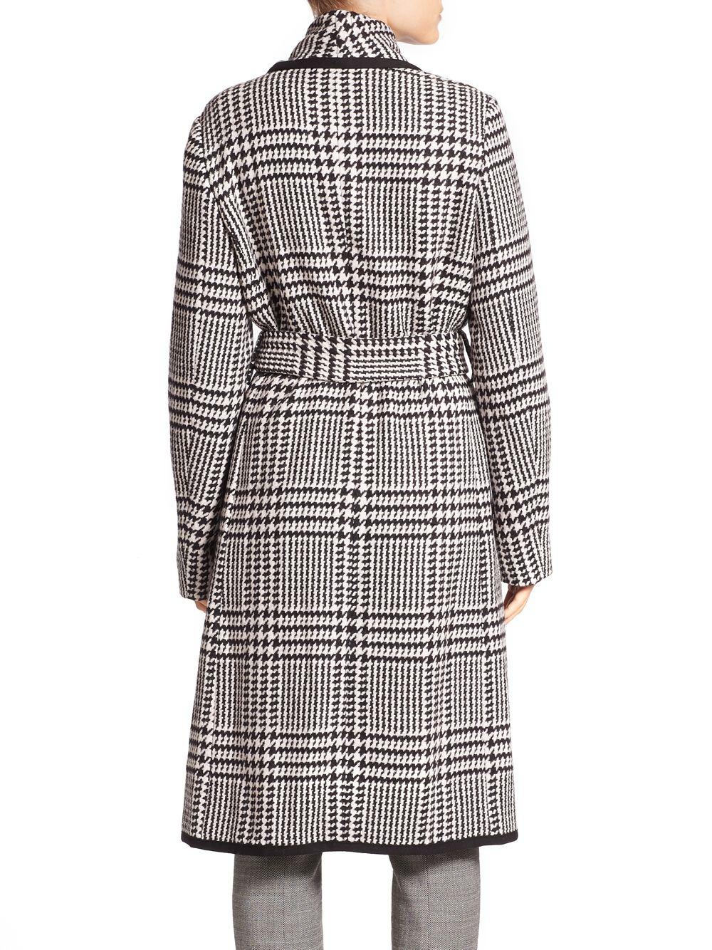 300e6319c0112 Lyst - ESCADA Houndstooth Belted Wool Coat in Black