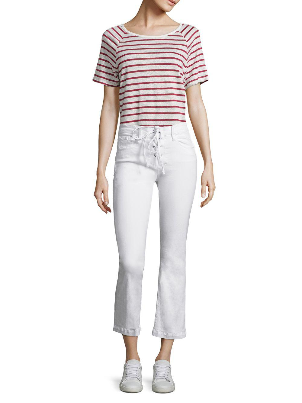 Lyst - Frame Le Cropped Mini Bootcut Lace-up Jeans in White - Save 29%