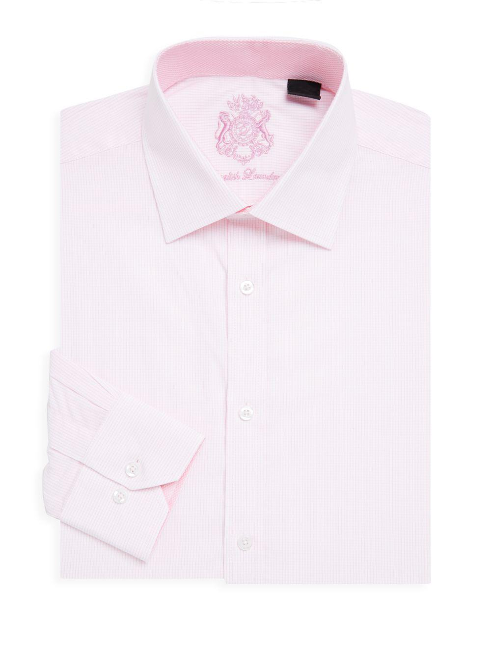 cabfdbc5e5 Lyst - English Laundry Micro Check Cotton Dress Shirt in Pink for ...