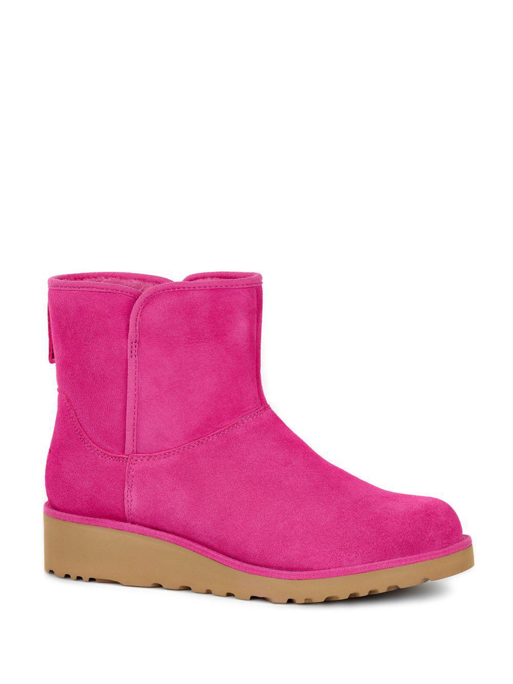 05cbfd78885 Lyst - UGG Kristin Slim Short Sheepskin Wedge Boots in Pink