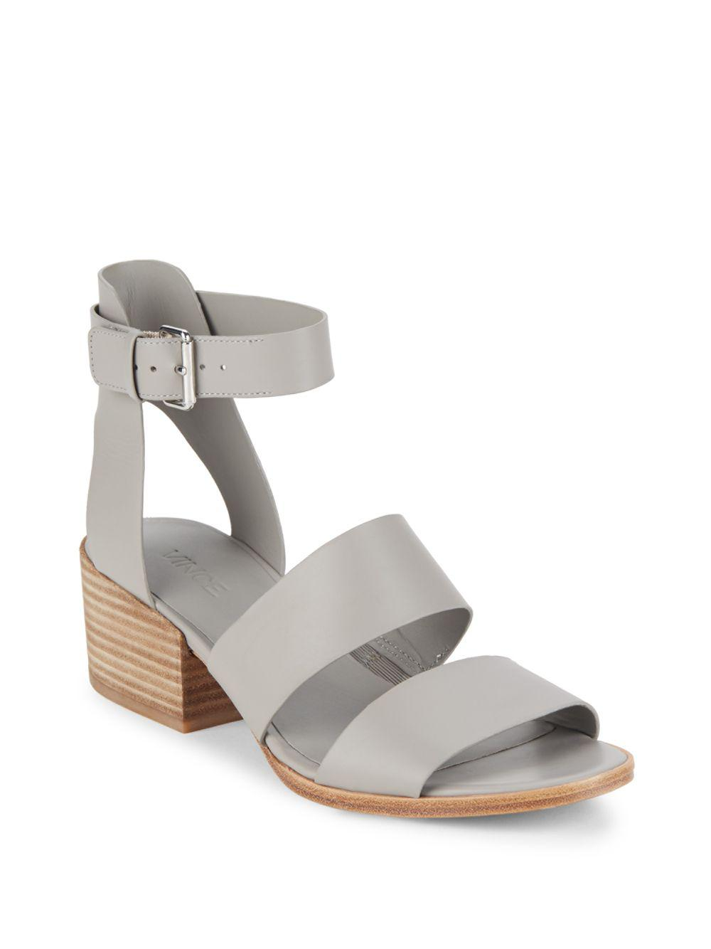 Vince. Women's Gray Frida Leather Sandals