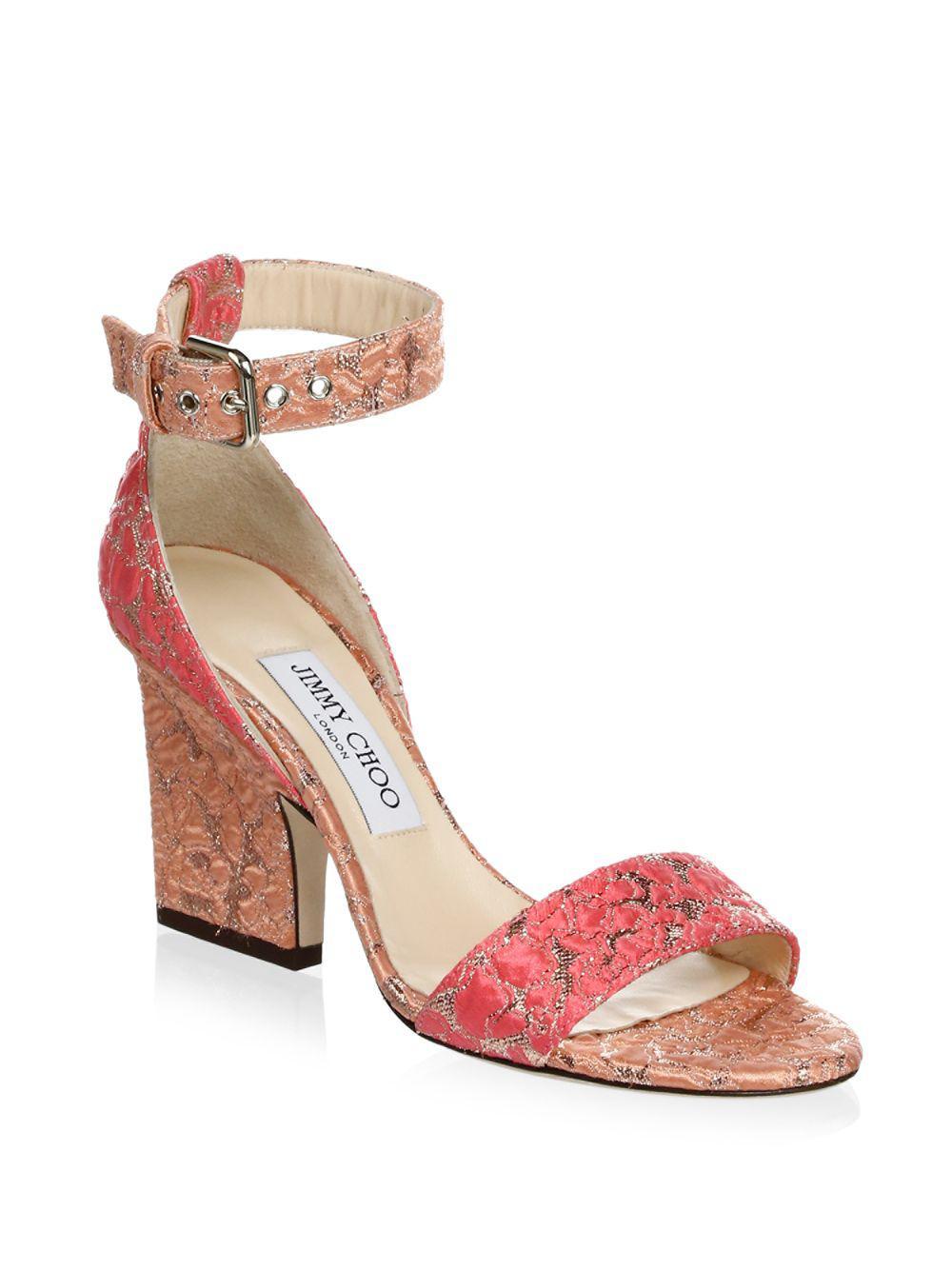 9a9aad6c817 Jimmy Choo - Pink Block Heel Sandals - Lyst. View fullscreen