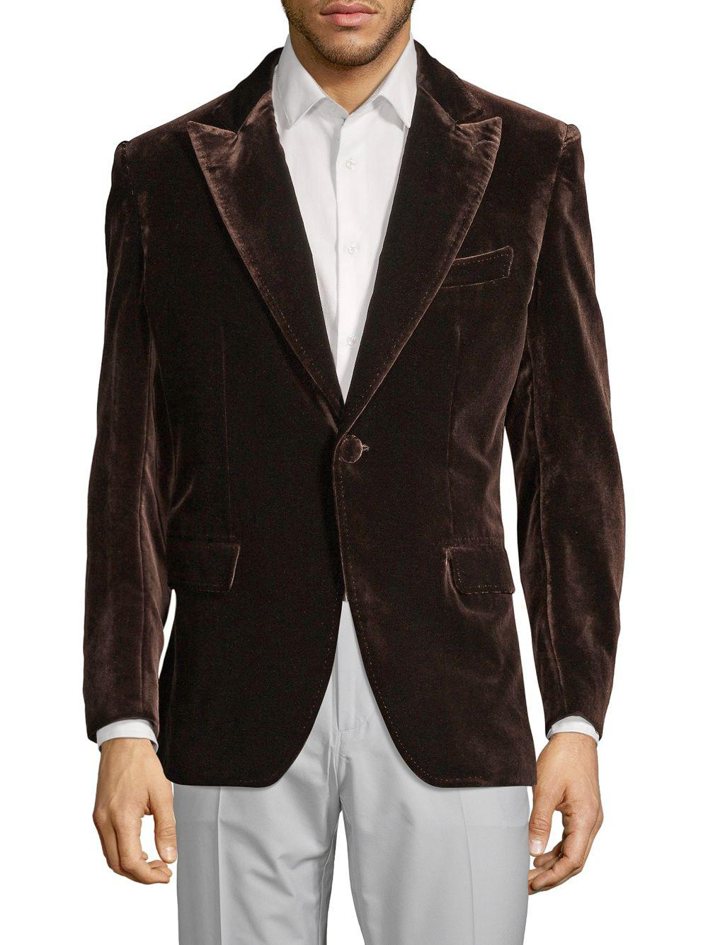 0ce214fcf Brioni Velvet Blazer in Brown for Men - Lyst