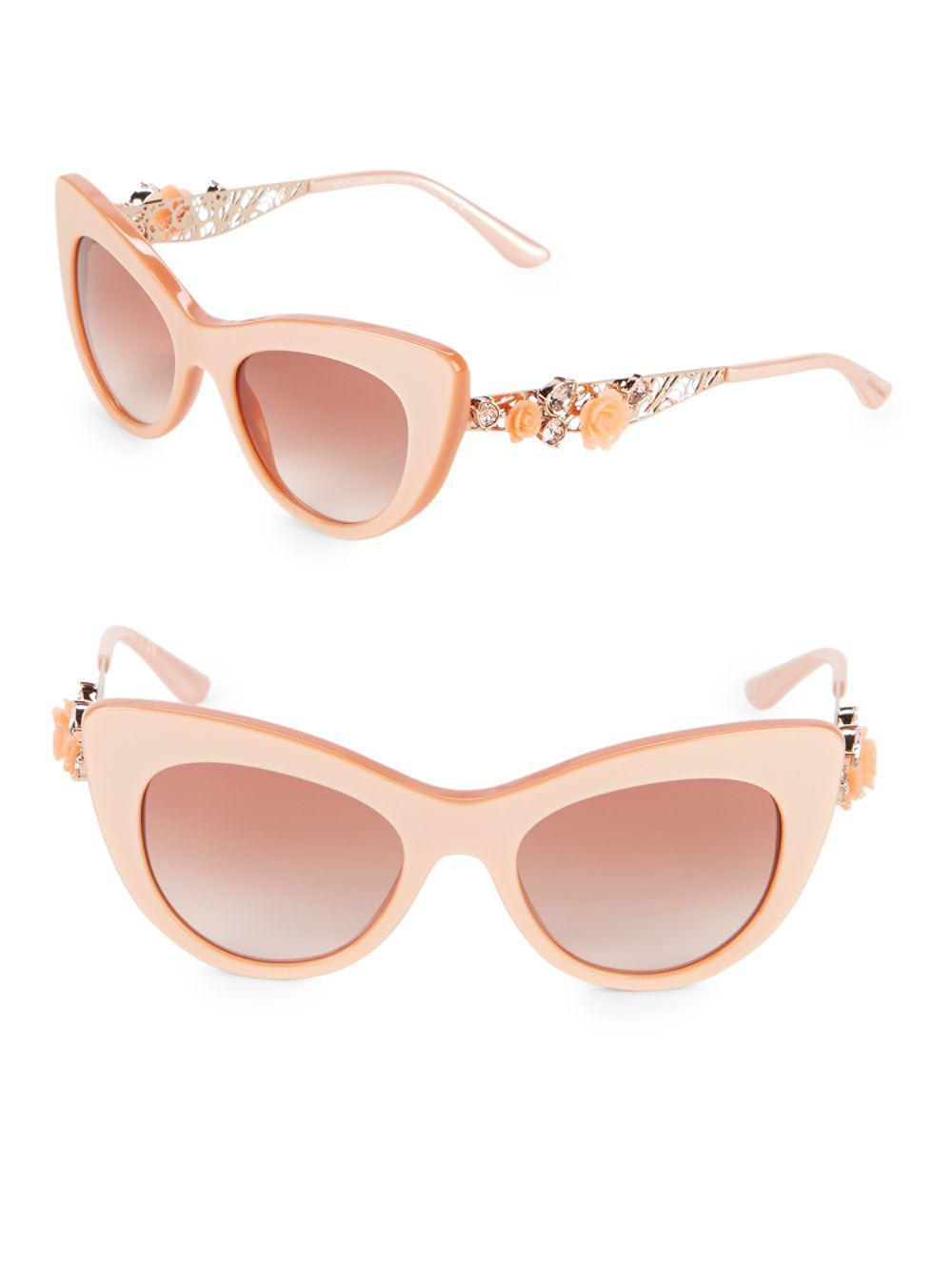 35e2cbf95198 Dolce   Gabbana 52mm Embellished Cat Eye Sunglasses in Pink - Lyst
