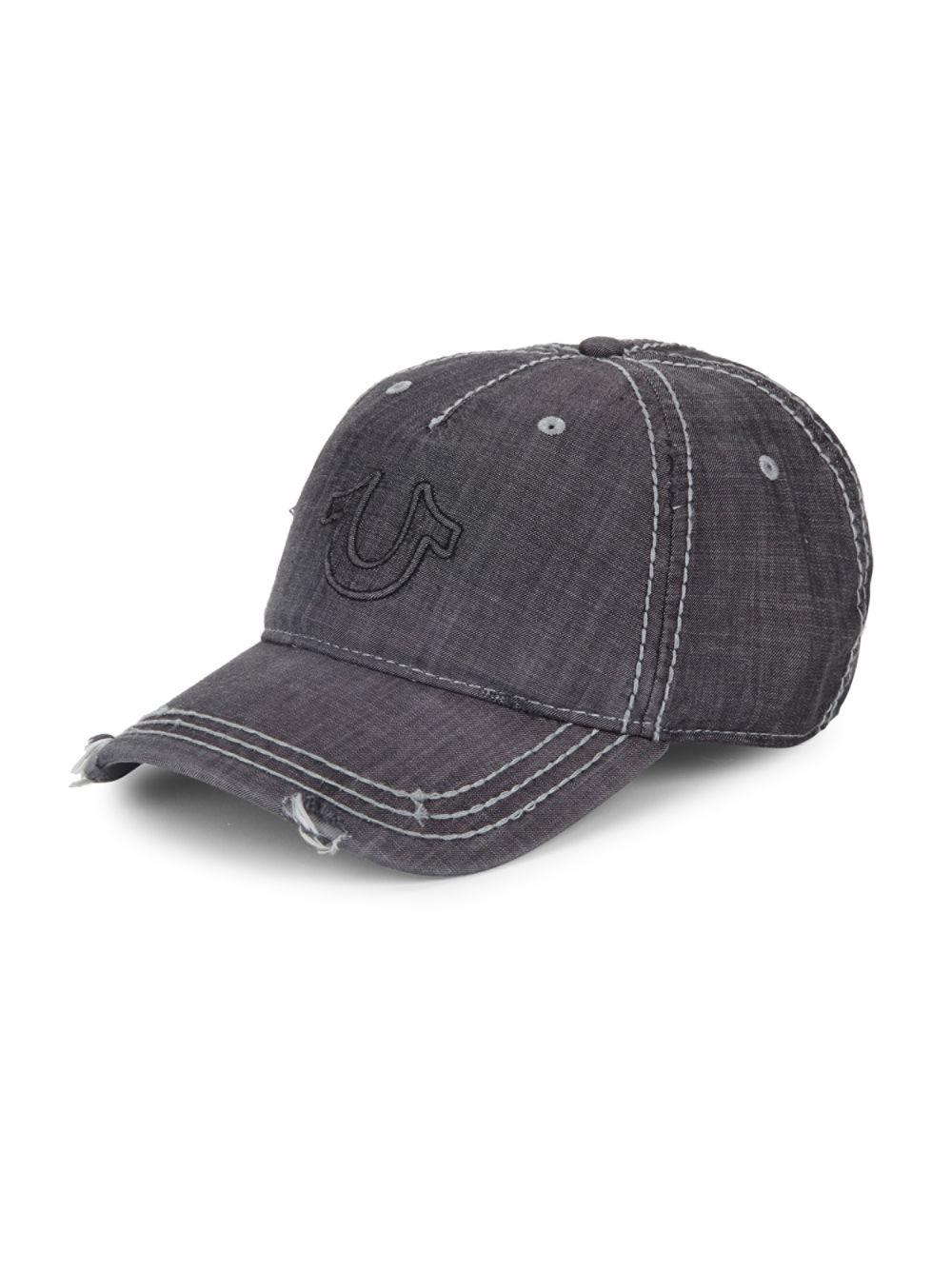 364a1aa76df027 True Religion Distressed Horseshoe Logo Baseball Cap in Black for ...