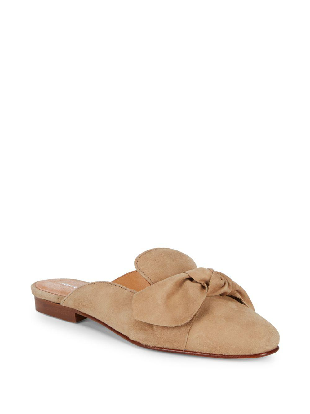 00d6bfb01c486f Lyst - Saks Fifth Avenue Bow Suede Mules in Brown