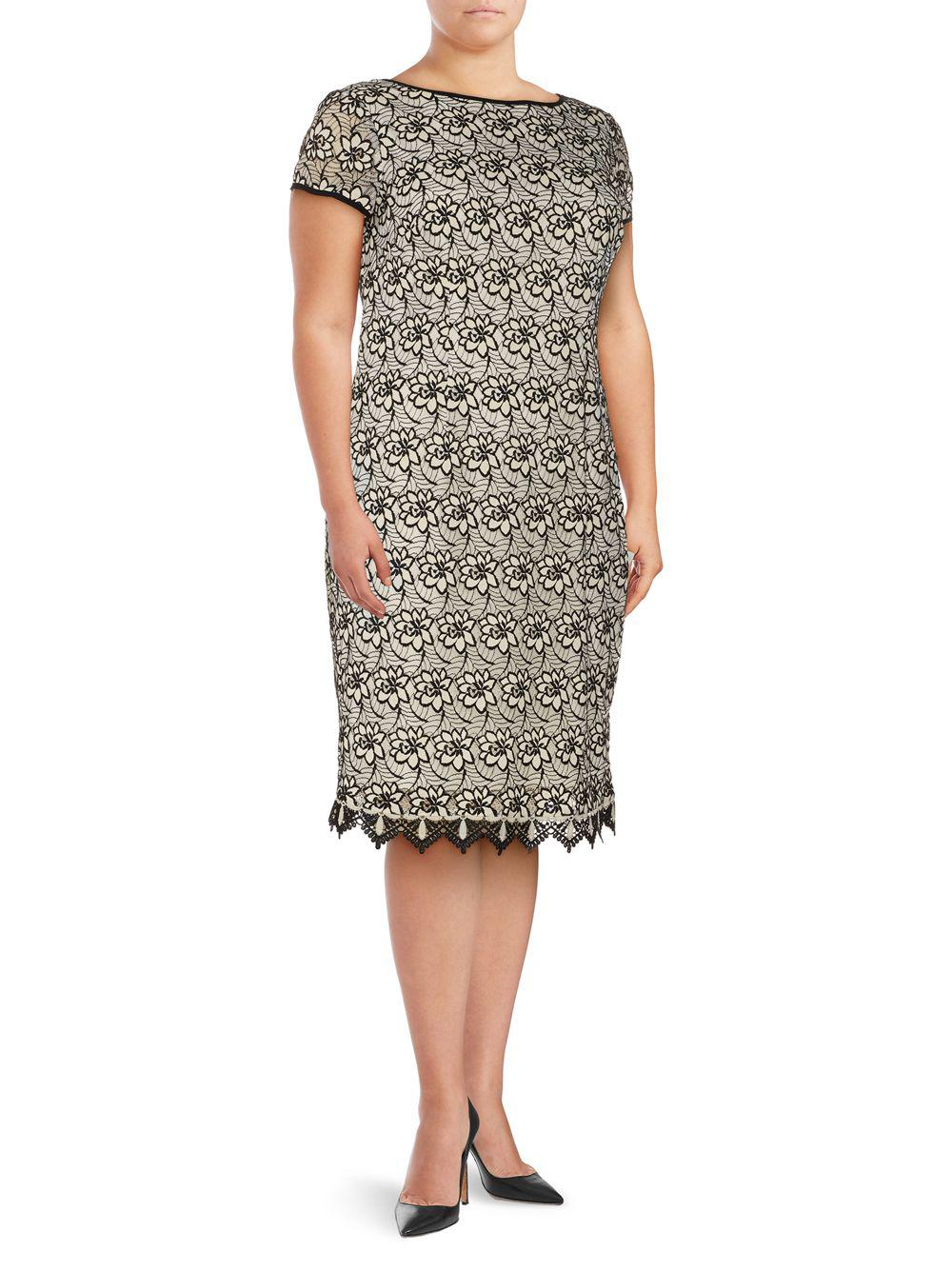 c017b5f931b Lyst - Adrianna Papell Plus Floral Lace Sheath Dress in White