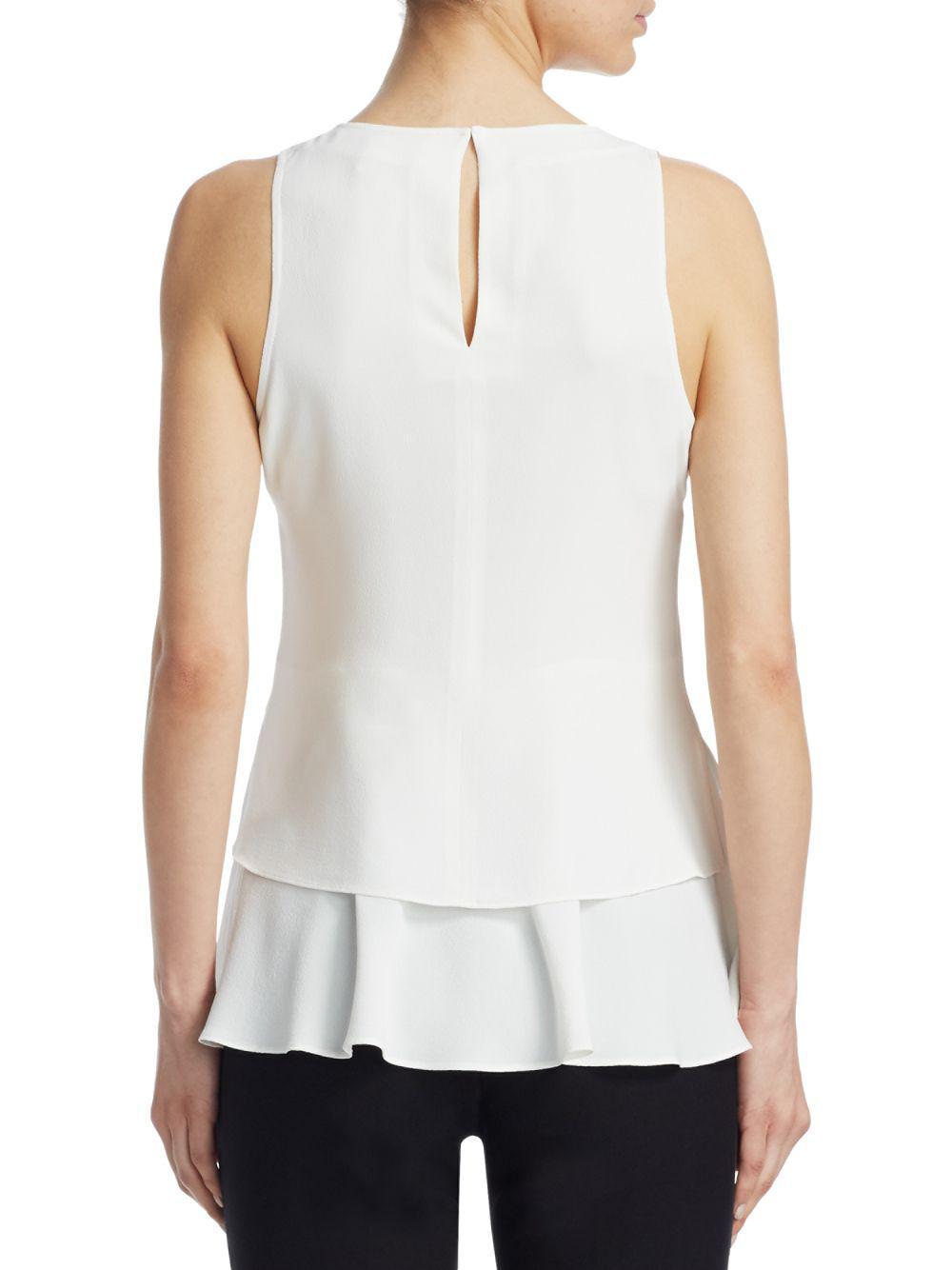 b4c34213668c4 Lyst - Derek Lam Silk Grommet Top in White