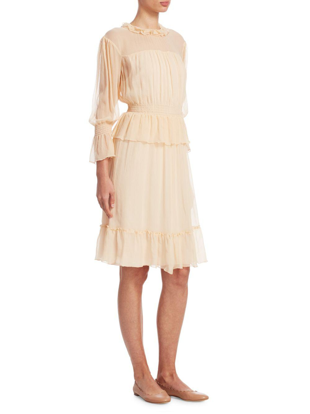 653af1e94c2 Lyst - Chloé Silk Flounce Dress in Natural