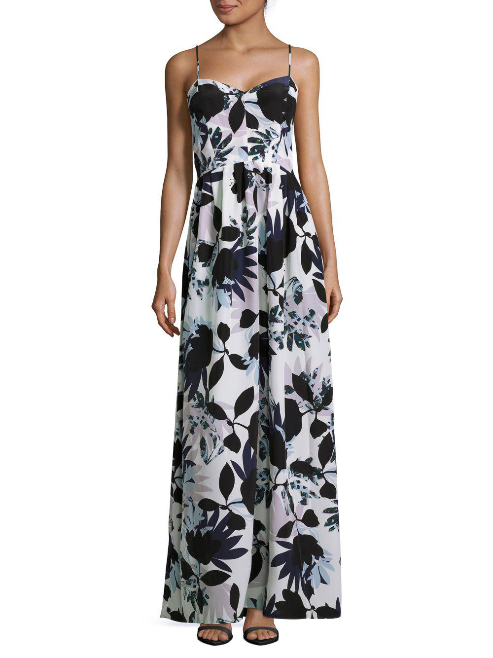 Lyst - Parker Floral-print Sweetheart Gown in Black - Save ...