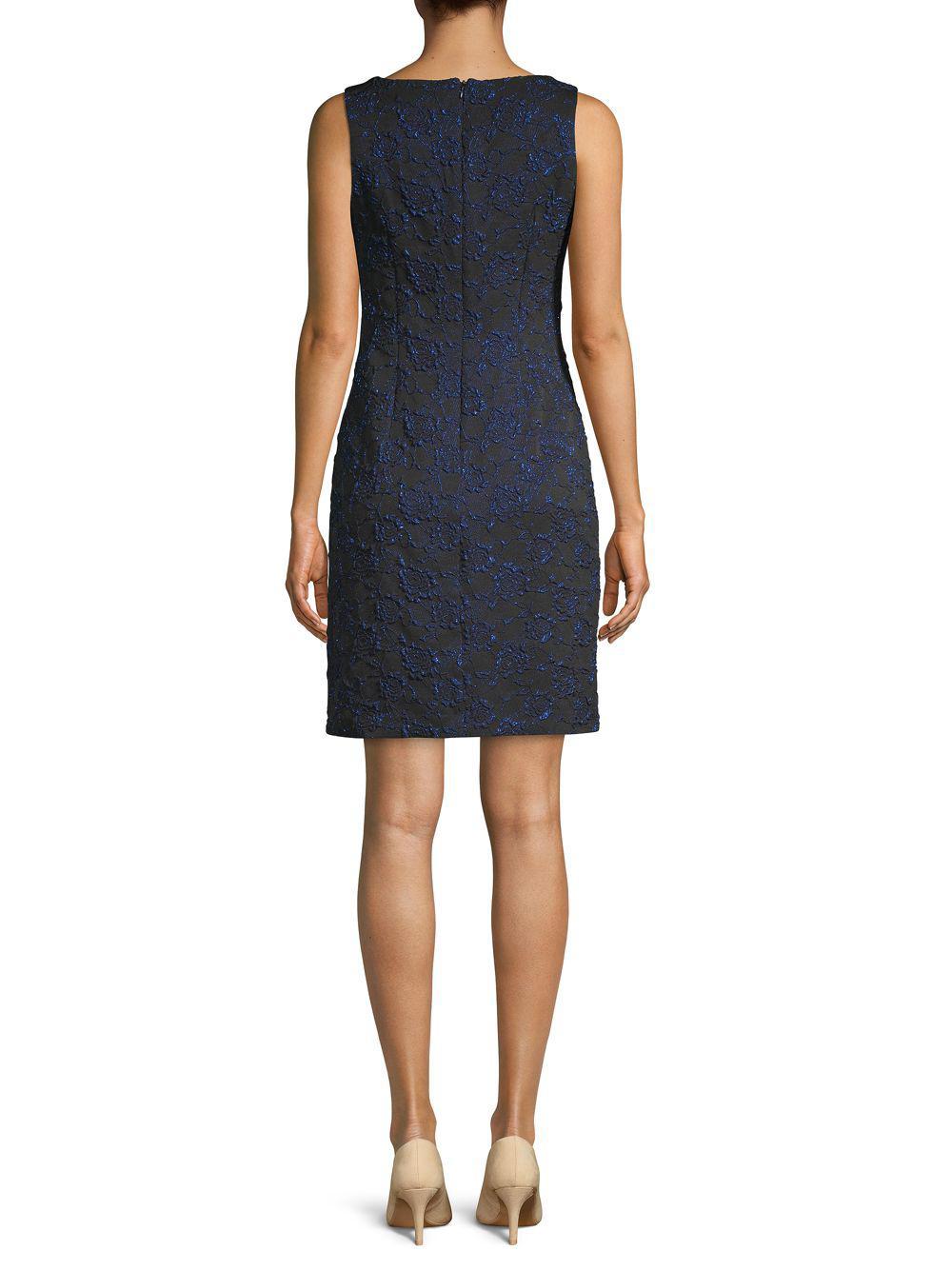 55a8b52151ea1 Donna Ricco - Black Embroidered Two-tone Sheath Dress - Lyst. View  fullscreen