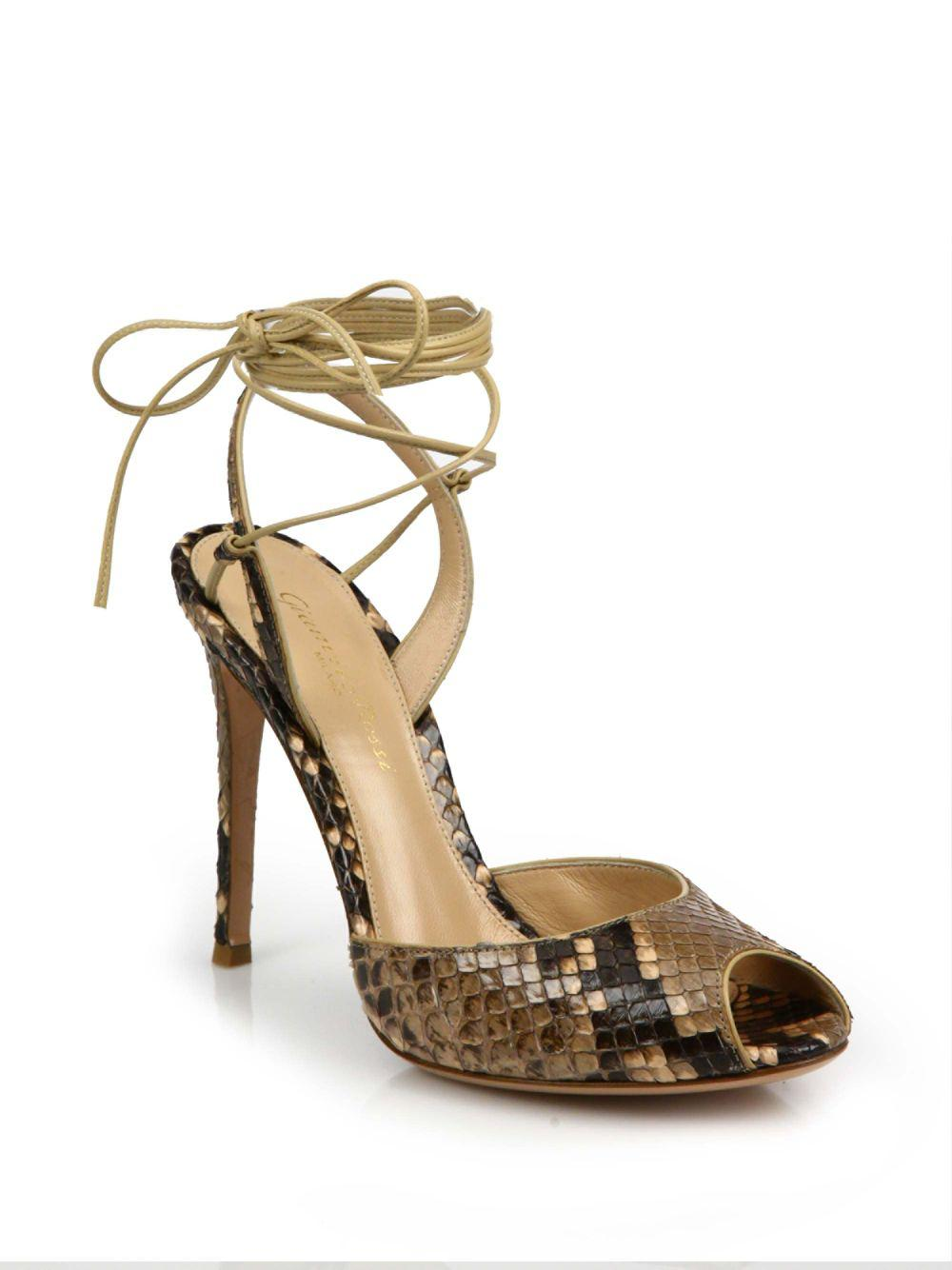 854692982a Gianvito Rossi. Women's Python-embossed Leather Peep Toe Ankle-wrap Sandals